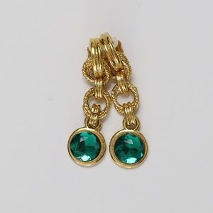 Gold & Green Costume Clip On Earrings
